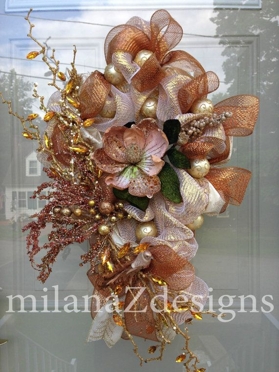Deco mesh fall wreaths gold copper pink autumn by