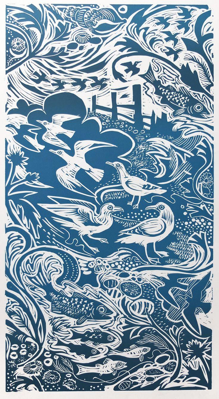 Mark Hearld 'Shoreline' linocut