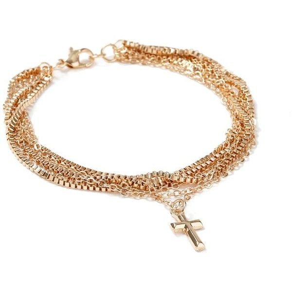 TOPMAN Gold Chain Cross Bracelet ($13) ❤ liked on Polyvore featuring men's fashion, men's jewelry, men's bracelets, gold, mens chain link bracelets, mens yellow gold bracelets and mens gold bracelets
