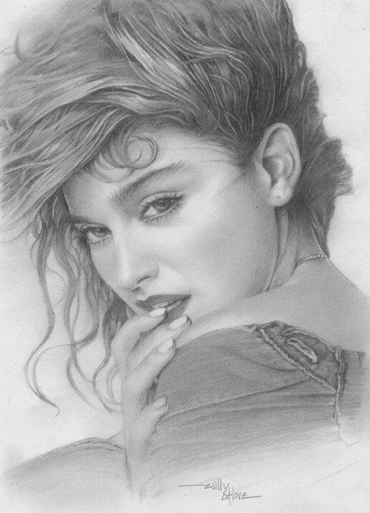 Pencil drawing of madonna beautiful