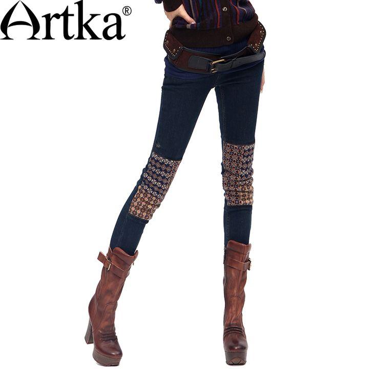 Купить Artka 2015 женская ретро новая коллекция осеней одежды высококачественные элегантные облегающие синие хлопоковые джинсы KN16135Dи другие товары категории Джинсы и джинсы джинсыв магазине ArtkaнаAliExpress. джинсы эластичный и эластичные джинсы