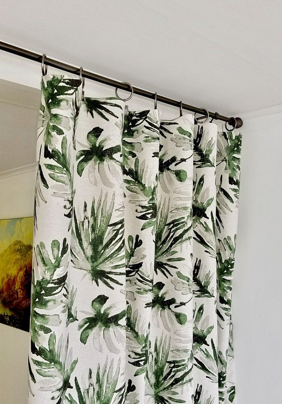 Off White Green Panel Curtain Flax Set Of 2 Panels Frond Lubu