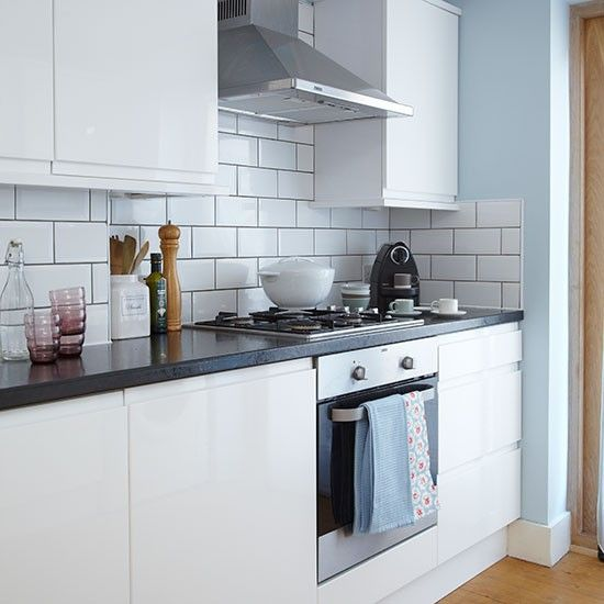 Blue and white tiled kitchen   Decorating