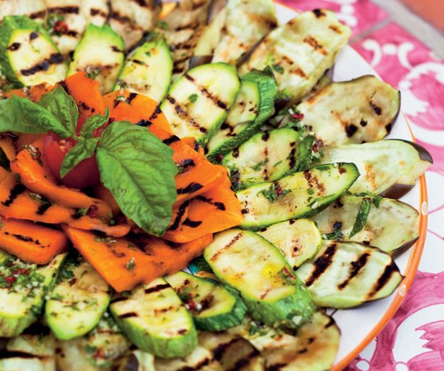 Fresh grilled vegetables from Amanda Tabberer's Amalfi Coast Recipes.  Photograph © Simon Griffiths.