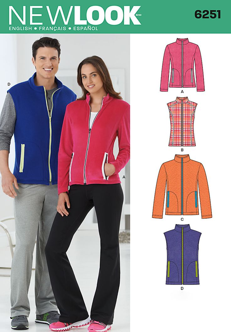 New Look 6251 Misses and Mens Jacket and Vest (misses' jacket has princess seams)