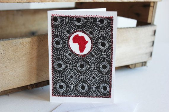 Love Africa Shweshwe brown and red fabric sewn card