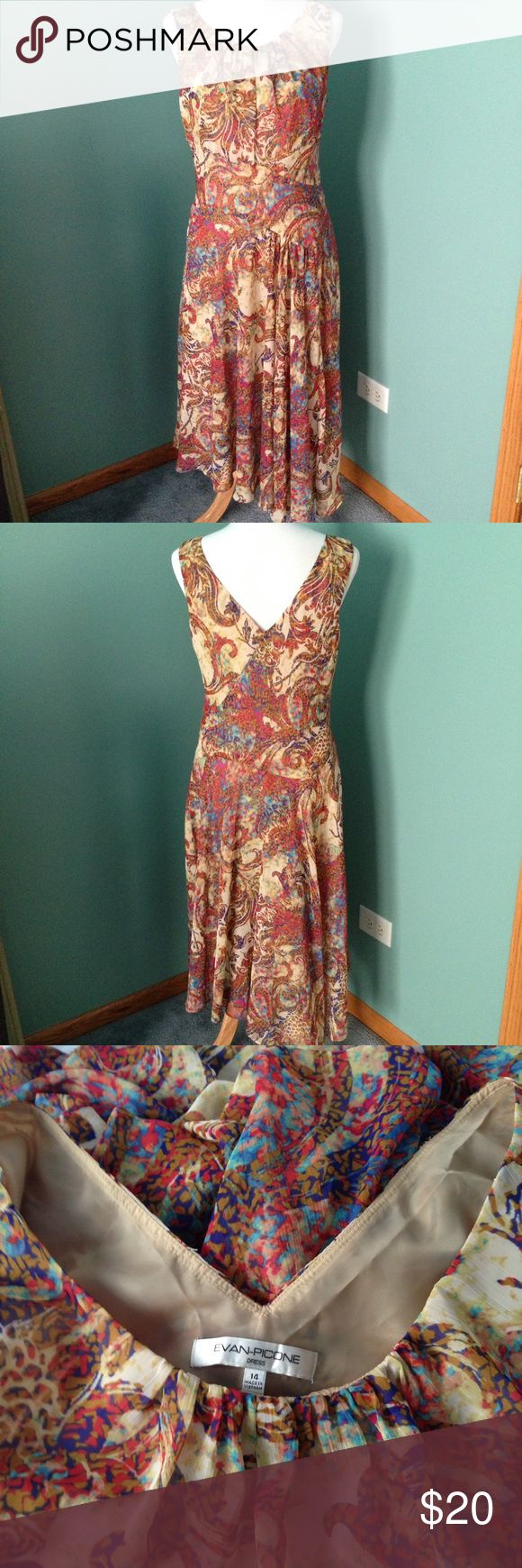 """Evan-Picone summer dress A beautiful, """"flowy"""" summer dress with crew neck front & V-shaped at the back. Size says 14 but mannequin is medium & it fits perfectly! Waist 17"""" flat, length hi-lo 46-54"""". In excellent condition Evan Picone Dresses High Low"""