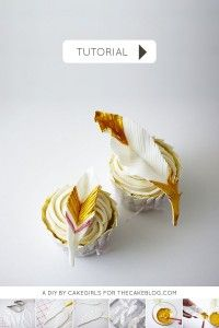 DIY Gold Feather Cupcakes | a cake tutorial by Cakegirls for TheCakeBlog.com