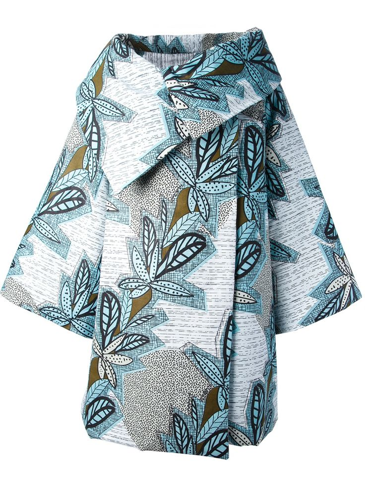 blue, green, jungle style, floral, fauna, striped, grey, white, mint, funnel collar, jacket, full, sculptural, pattern, print from: farfetch 'kya' Oversized Coat | Stella Jean