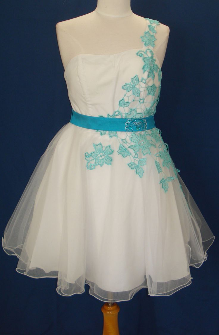 vow renewal turquoise wedding dresses Short Dress SWEET 16 Dance Prom Evening Pageant Party WHite Turquoise LG Fit 10