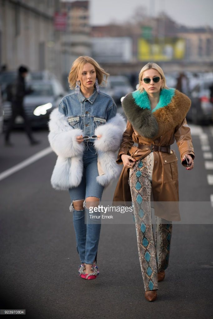 Shea Marie and Caroline Vreeland seen after the Missoni Fashion Show in the streets of Milan during Milan Fashion Week Fall/Winter 2018/19 on February 24, 2018 in Milan, Italy.