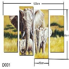 [ 23% OFF ] 4 Rectangles Home Decor  Part Art Hanging Canvas Painting Elephant Pattern Digital Image (Frameless) D001