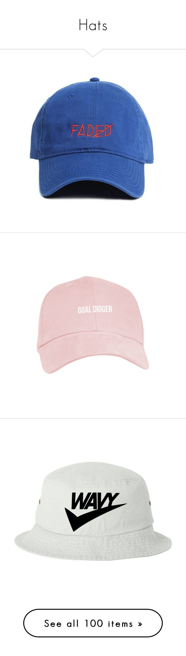 """""""Hats"""" by slayzhane ❤ liked on Polyvore featuring accessories, hats, visor hats, adjustable hats, cap hats, visor cap, sun visor cap, extra, cap and embroidered baseball caps"""