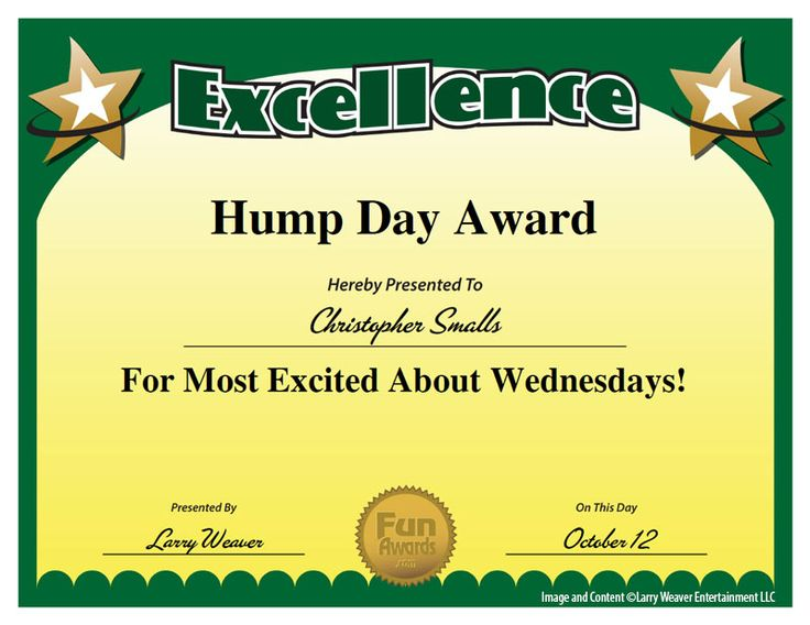 "Hump Day Award - seriously - YES! from ""101 Funny Employee ..."