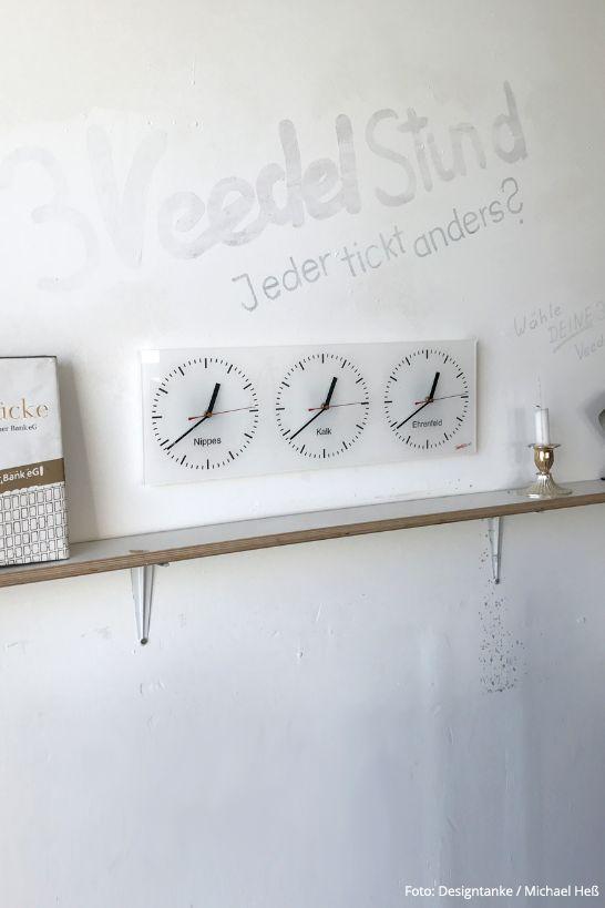 Wanduhr 3VEEDELSTUND Von Michael Heß Aus Köln Zeigt Euch Die Zeit In Euren  Lieblingsvierteln An!