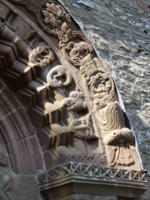 the 12th century Kilpeck church - Herefordshire - detail of the Tympanum arch