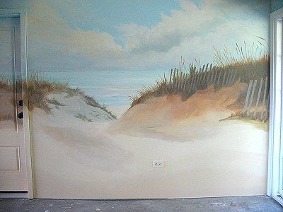 beach murals | Jersey Shore Beach Mural: Ocean Sunrise by Murals & Moldings
