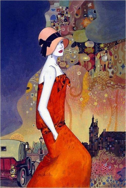 art déco ; Franse woorden, betekenen: decoratieve of versierende kunst; naam van een stijl in de tijd rond 1915, er worden allerlei soorten vormen en felle kleuren gebruikt.