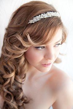 Wedding Hair Down with headband | Bridal Headband Wedding pearls and crystals by MagnoliaHandmade, $49 ...