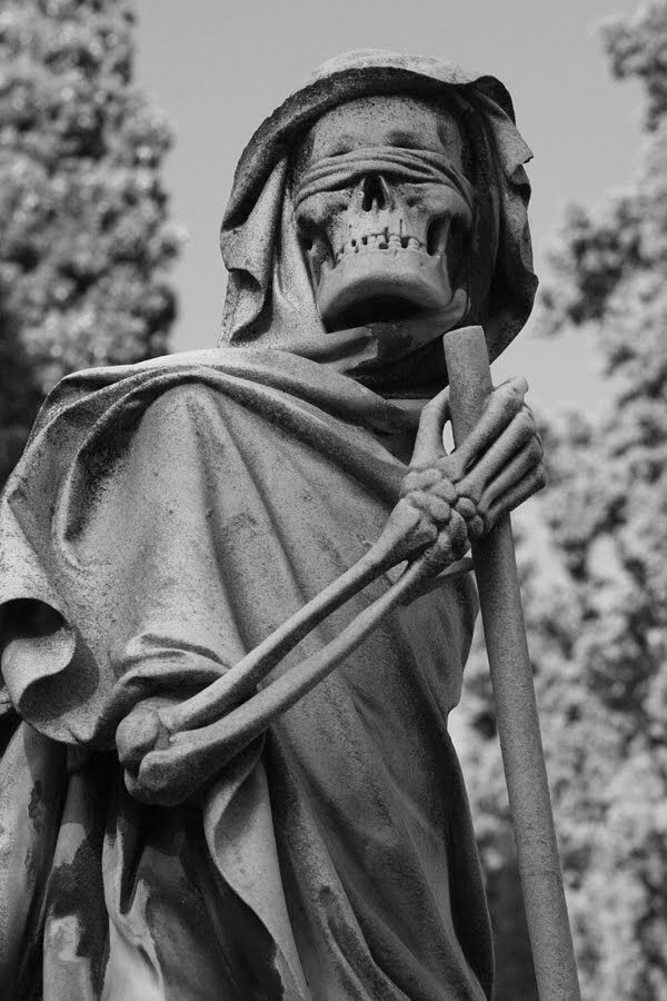 One of my favorite grave monuments in the world:  Grim Reaper in the English Cemetery, Florence, Italy