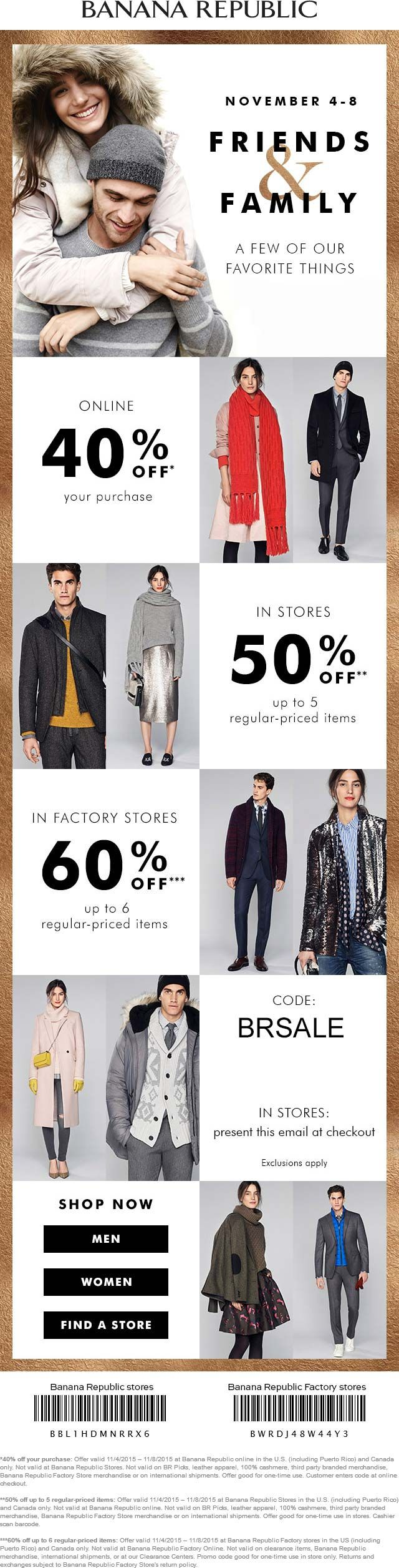 Banana republic coupon banana republic promo code from the coupons app extra off at banana republic factory locations or online via promo code brsale