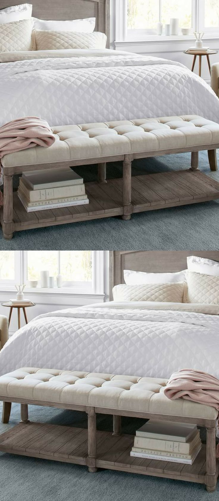 This kind of bench is basically a classic!!! I need it for my bedroom!!! This plush bench would beautifully accent any bedroom with a farmhouse, rustic, or Scandinavian influence. It would even look great in the living room as a place to sit and put your shoes on! #bedroomideas #bedroomdecor #livingroomideas #livingroomdecor #ad #farmhousedecor #rustichomedecor #homedecorideas