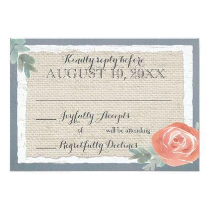 #Birch Wood and Burlap Steel Blue Reply Card - #weddinginvitations #wedding #invitations #party #card #cards #invitation #rustic
