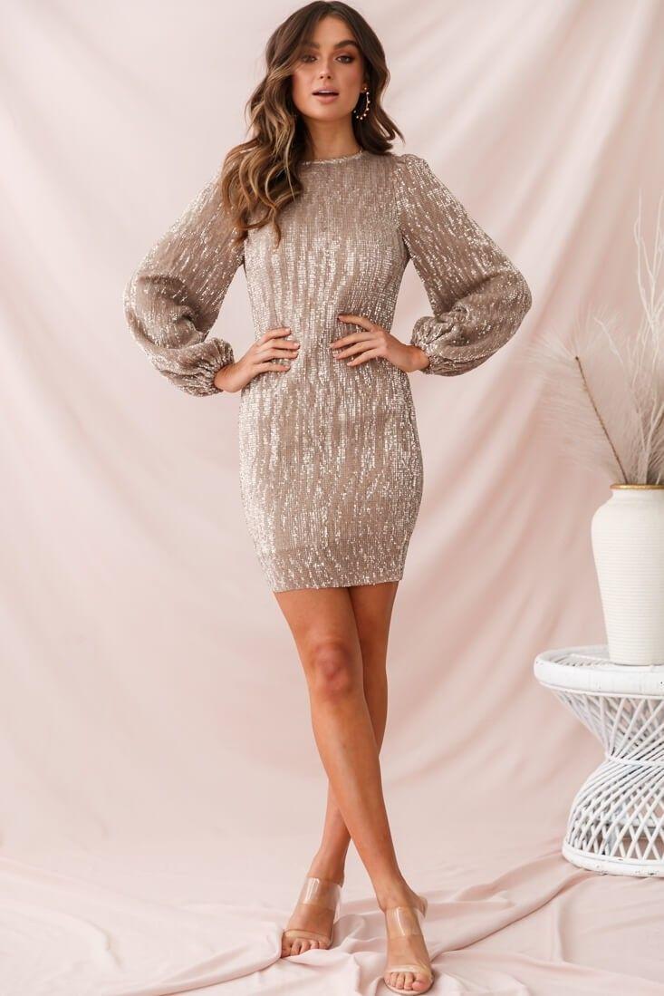 Tinsel Long Sleeve Sequin Mini Dress Champagne Taupe Dresses Long Dressy Dresses Sequin Outfit [ 1099 x 733 Pixel ]