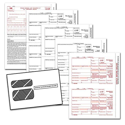 Complete Laser 1099 Misc Tax Form set And 1096 - Kit For 25 Vendors ~4-Part~ All 1099 Forms with Self-Seal Envelopes in Value Pack | 1099 Misc 2017 -  * Popular format for reporting miscellaneous payments and non-employee compensation. Meets all government and IRS filing requirements. All the laser 1099-MISC tax forms and envelopes you need in 1 package, for 1 low price! * Printer Compatibility: Compatible with laser or inkjet printers. * Conv...