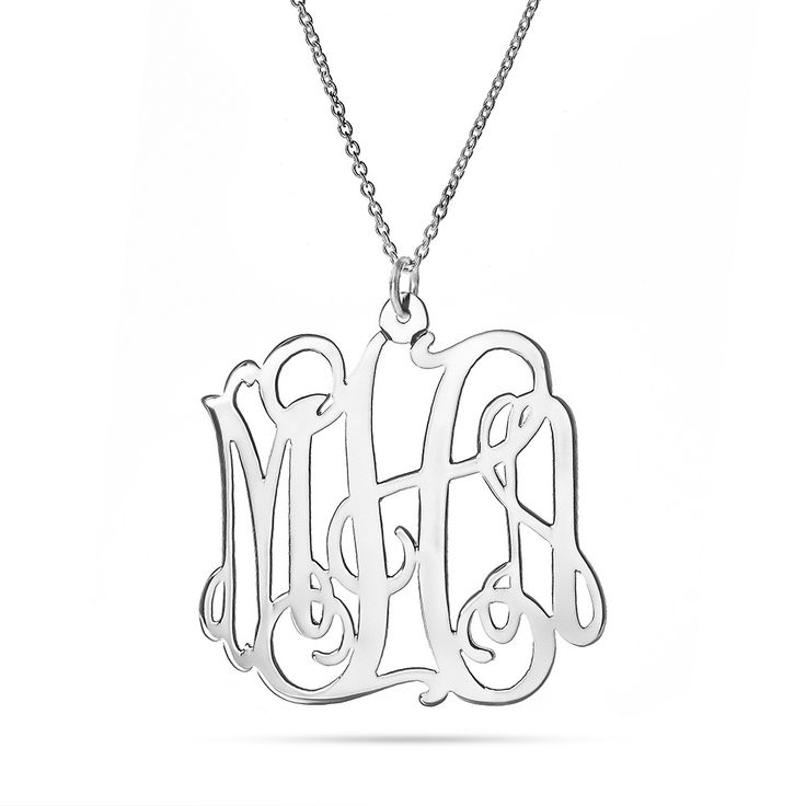 "Monogram necklaces are one of the most popular styles you see these days. Our Fancy Script Sterling Silver Monogram Necklace is a great monogram piece you'll be overjoyed to have! This sterling silver beauty comes in three sizes of 1"", 1.25"" or 1.5"" and comes with your choice of chain, either 16"", 18"" or 20"" in length. This beautiful monogrammed necklace will also look great with sterling silver monogram earrings or a beautiful sterling silver monogram ring!"