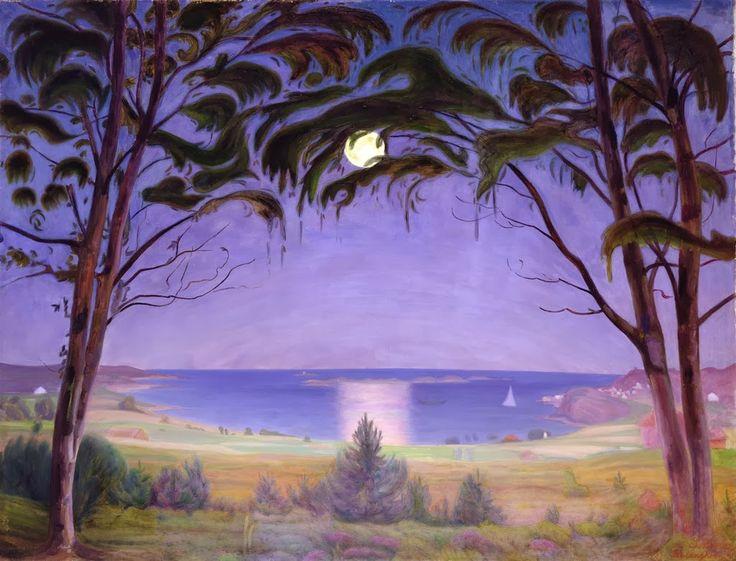 """Harald Sohlberg, """"Moonlight, Nevlunghavn"""" (1922)"""