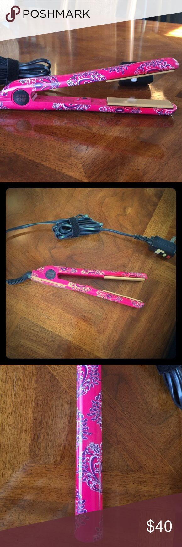 "Ultra CHI Flat Iron Pink paisley Ultra CHI 1"" flat iron.  Great condition! :) CHI  Accessories Hair Accessories"