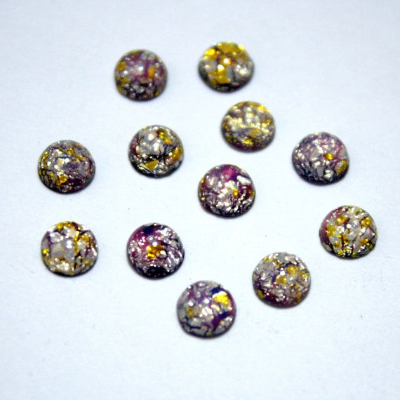 12 Round Vintage Glass Amethyst Fire Opal by ThisPurplePoppy