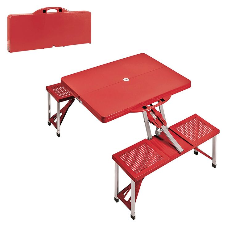 Portable Picnic Table and Seats - Red