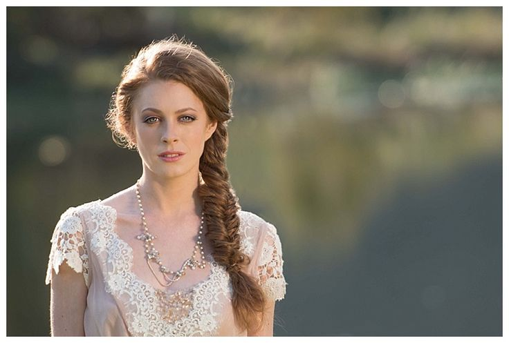 Lace wedding dress and loose plait