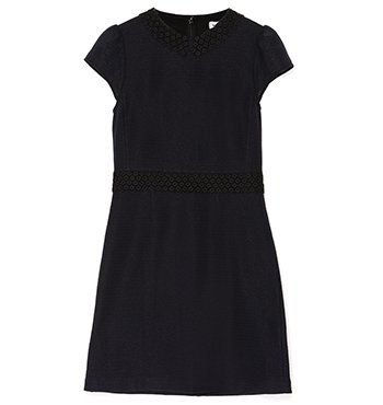 TWEED LUREX W/DAISY LACE TRIM DRESS