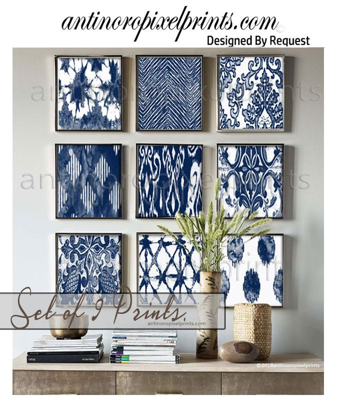 Art Prints, Textile Watercolor, Indigo Navy White Wall Art, Set of (9) 10×10 Prints (Unframed) #627465584