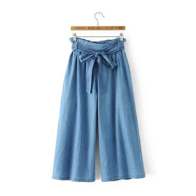Loose comfortable loose wide leg pants women's straight jeans drawstring waist trousers