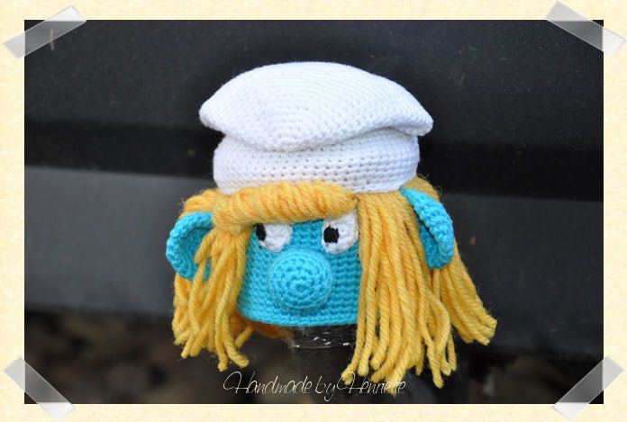Smurfette tow ball cover, crochet