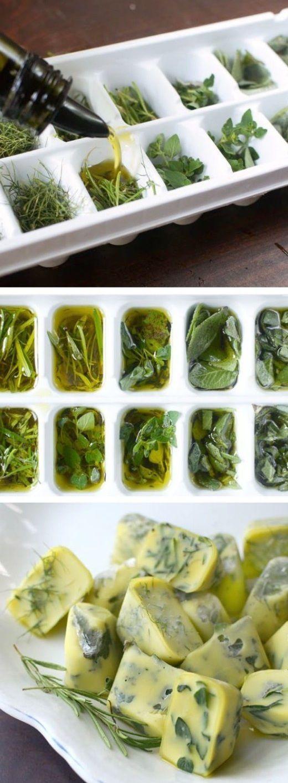 Как заморозить травы(herbs frozen in olive oil)