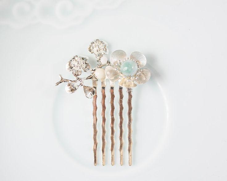 Cinese Plumblossom pettinino, accessorio dei capelli, argento e giada pettine dei capelli, gioielli capelli cinese tradizionale, cinese gioielli, gioielli asiatici