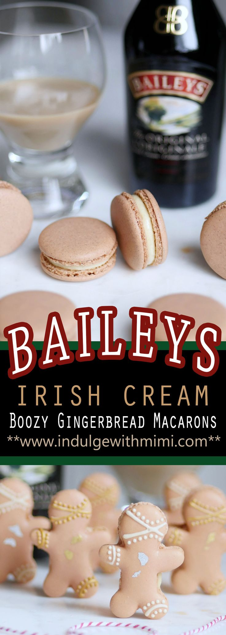 Boozy Gingerbread Macarons filled with Baileys Irish Cream. Includes Mimi's Best Macaron Recipe.