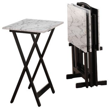 White Faux Marble Tray Set transitional-tv-trays