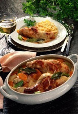 Das Rezept für Geschmorte Kaninchenkeulen auf Suppengemüse und weitere kostenlose Rezepte auf LECKER.de