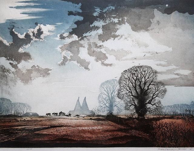 Artwork by Rowland Hilder, 'Winter Sunshine', Made of Etching in colours