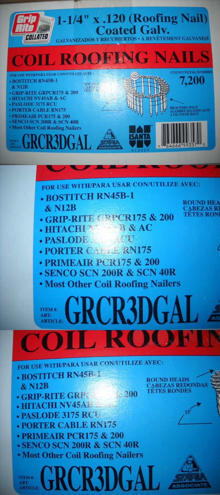 Other Fasteners 170412: Bostitch Griprite Cr3dgal Coil Roofing Nails 1 1 4 7,200 Pk Fit Hitachi Nv45ab -> BUY IT NOW ONLY: $38 on eBay!