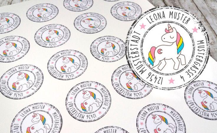 Aufkleber & Etiketten - ★ Adressaufkleber ★ Namensaufkleber ★ Einhorn ★ - ein Designerstück von Kitsch-n-Story bei DaWanda