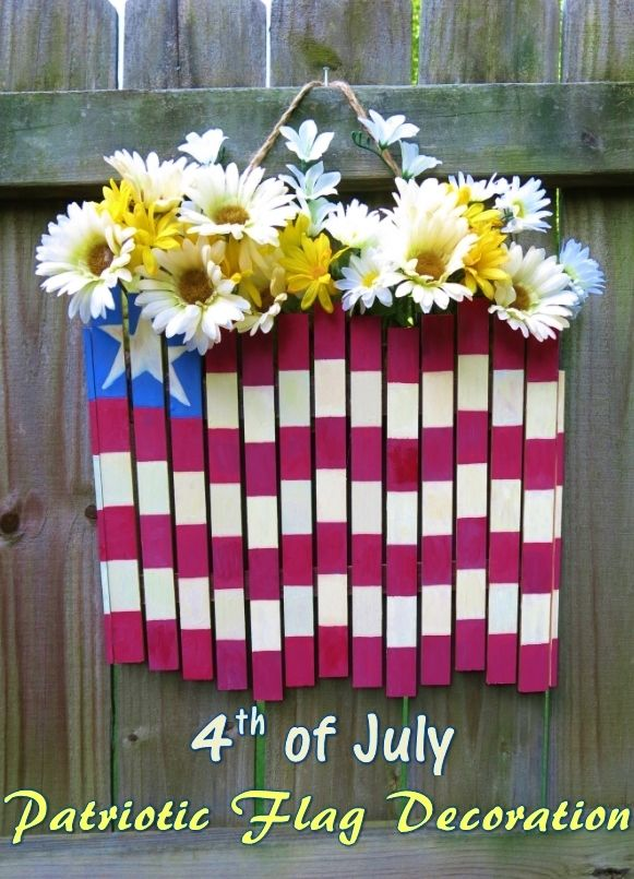 DIY Craft Tutorial: 4th of July Patriotic Flag Door or Wall Decoration