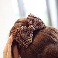 Wish   !!! High Quality Fashion Cute Bow Leopard Stripe Lace Hairpins Clips for Ladies Women Hair Accessories Wholesale