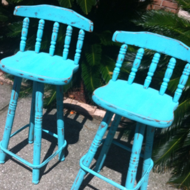 Distressed Turquoise Wood Barstools Beachy Shabby Chic